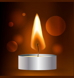 realistic flame tea candle on dark vector image vector image