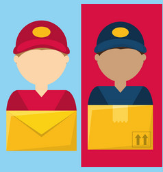 Set couriers delivery service to giving out vector