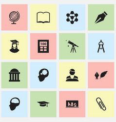 Set of 16 editable school icons includes symbols vector