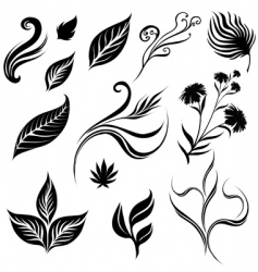 set of leafs vector image
