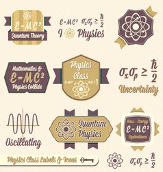 Vintage Physics Class Labels and Icons vector image vector image