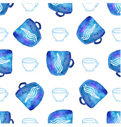 Watercolor seamless pattern with cups seamless vector