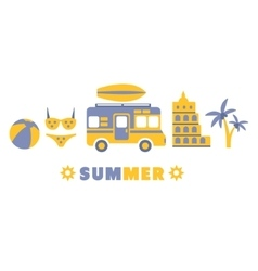 Summer traveling symbols set by five in line vector