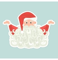Santa claus icon with curly beard isolated on blue vector