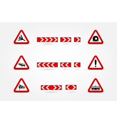 Set of warning traffic signs vector