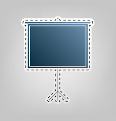 blank projection screen  blue icon with vector image