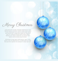 Hanging blue christmas balls with floral vector