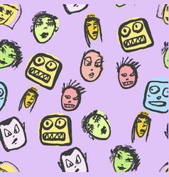 doodles faces pattern vector image