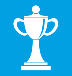 Championship cup icon white vector