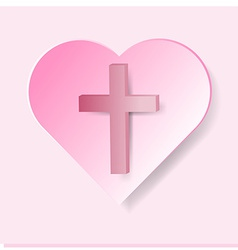 True cross in pink heart on pink background vector