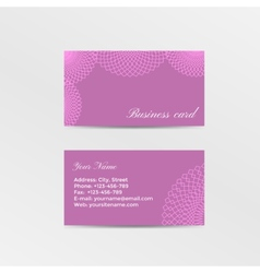 Pink business card decorated lacework vector image