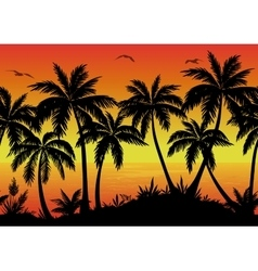 Seamless landscape palms ocean and birds vector