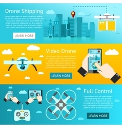 Set of drone banners - shipping surveillance vector