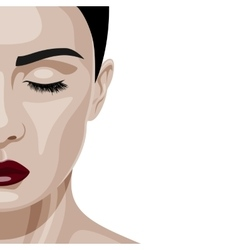 Face of beauty woman with closed eyes vector