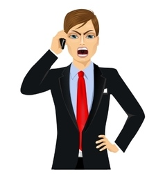 Angry businessman talking on mobile phone vector