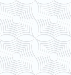 Quilling white paper striped spider webs in row vector