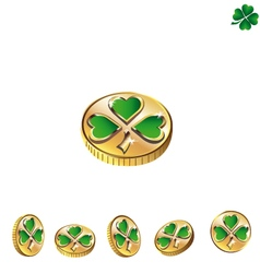 Coins with green clover vector