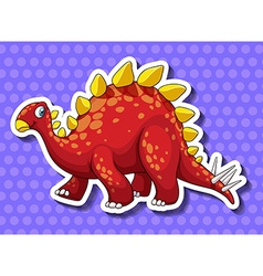 Red dinosaur on blue background vector