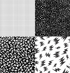 80s retro memphis pattern set with geometric shape vector