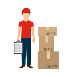 Delivery man and package icon delivery and vector
