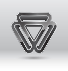 Abstract 3d triangle metal icon vector