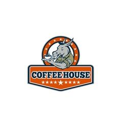 Army sergeant donkey coffee house cartoon vector