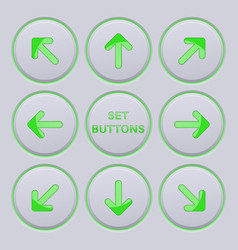 Arrows key set green icons on gray buttons vector