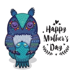 Card for Mothers Day with owls vector image vector image