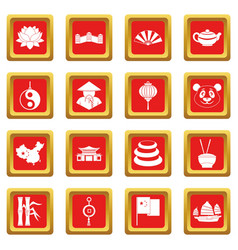 China travel symbols icons set red vector
