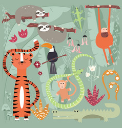 collection of cute rain forest animals tiger vector image
