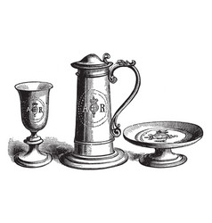 Communion plate presented by queen anne vintage vector
