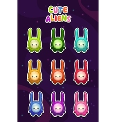 Cute cartoon colorful alien characters stickers vector