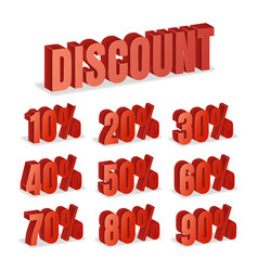 Discount numbers 3d red sale percentage vector