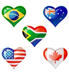 flags heart vector image vector image