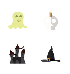flat icon celebrate set of cranium spirit witch vector image