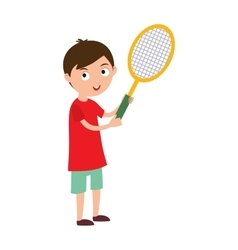 Good looking tennis player prepared for active vector image