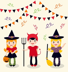 Halloween girls vector