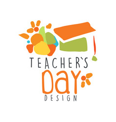 happy teachers day label concept with graduate cap vector image
