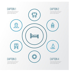 Journey outline icons set collection of ship vector
