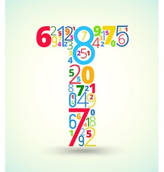 Letter t colored font from numbers vector