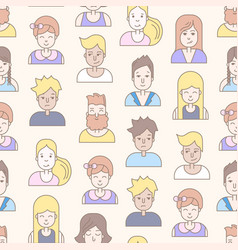 Linear flat people faces seamless pattern vector