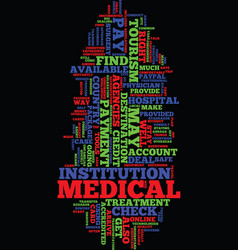 Medical tourism faqs text background word cloud vector