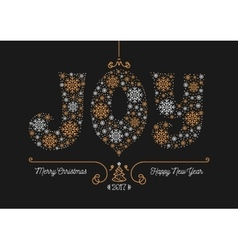 Merry Christmas Happy New Year 2017 greeting card vector image