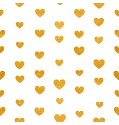 Seamless pattern of golden hearts vector image vector image
