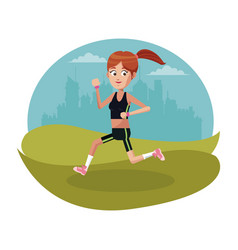 Sport girl running urban background vector