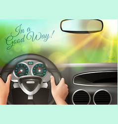 sunset outside car windscreen vector image vector image