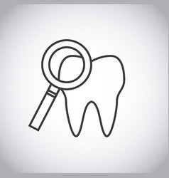 Tooth and magnifying glass icon vector