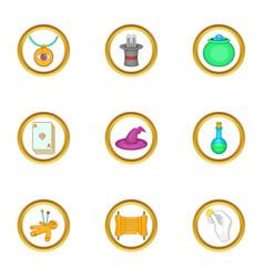 wizard stuff icons set cartoon style vector image vector image