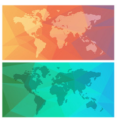 world maps on colorful triange background vector image vector image