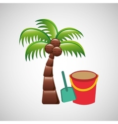 Palm on beach icon vector